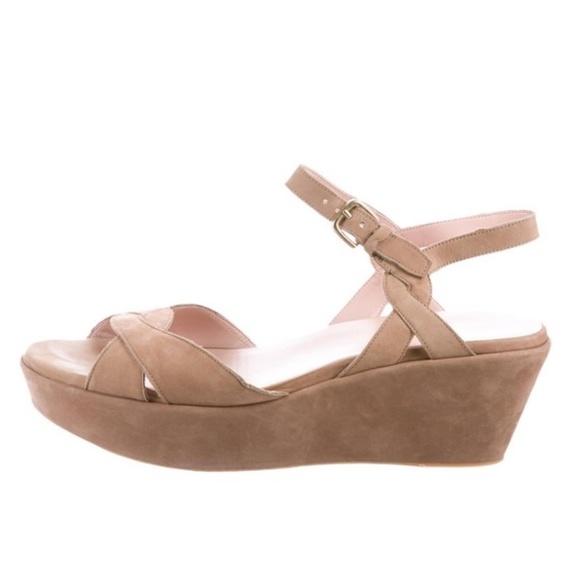 STUART WEITZMAN Suede Tan Platform Wedge Shoes 11